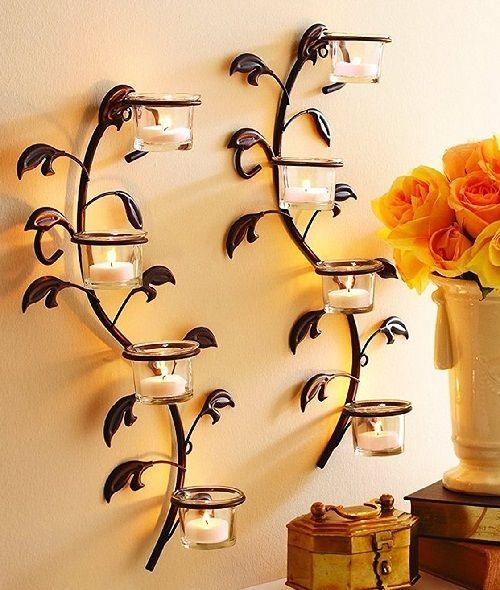 Candle Holder Wall Sconce Set Tea Light Decor Wedding Party ...