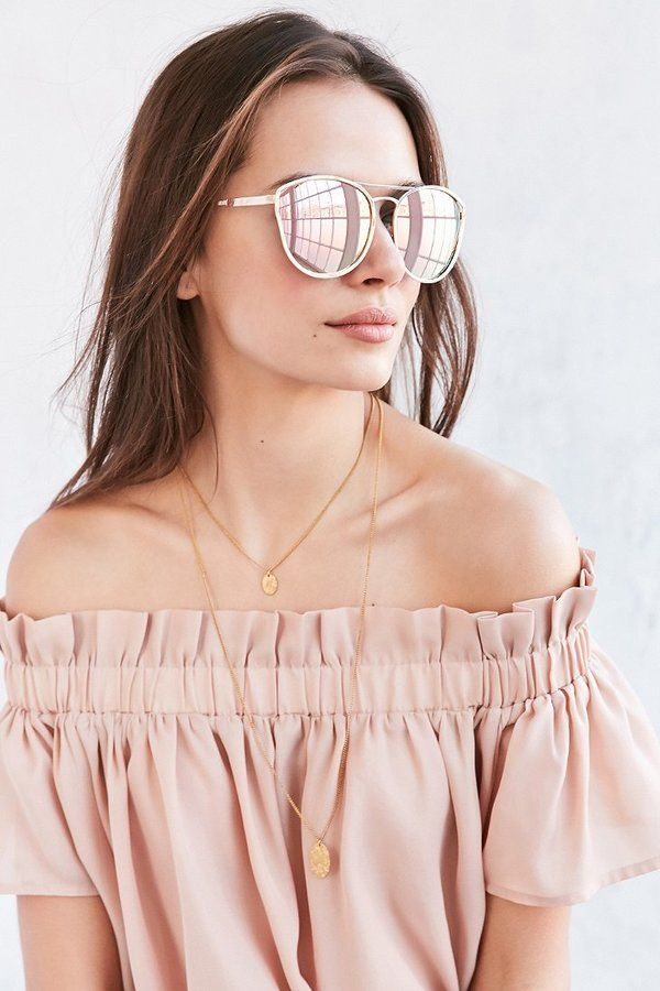 Pink mirrored sunglasses are a must have!