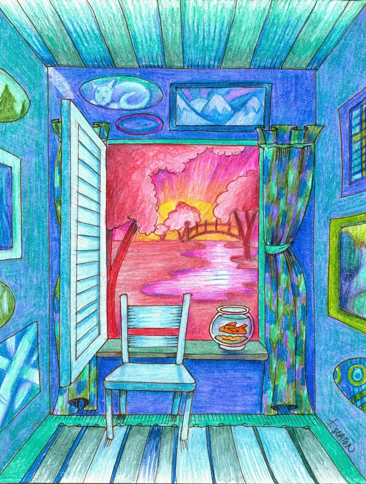 One Perspective Drawing Room: Perspective Art, Elementary Art