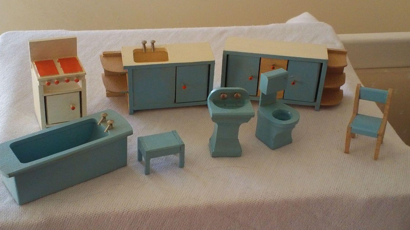Dolls House Kitchen Furniture Vintage 1960s 70 Twigg Kitchen Bathroom Doll House Furniture I