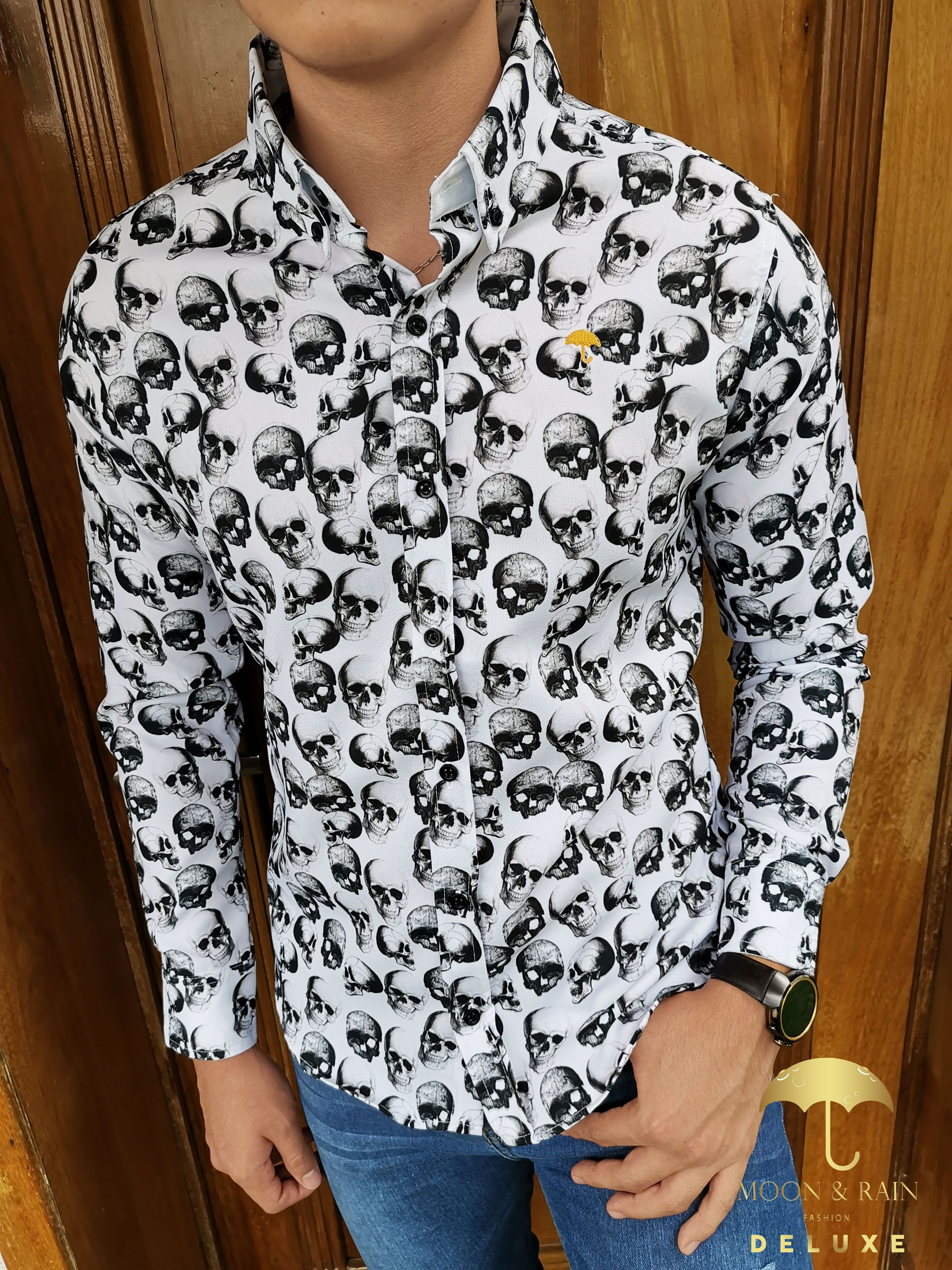 Camisa Blanca Calaveras Negras Mens Tops Shirts Slim Fit