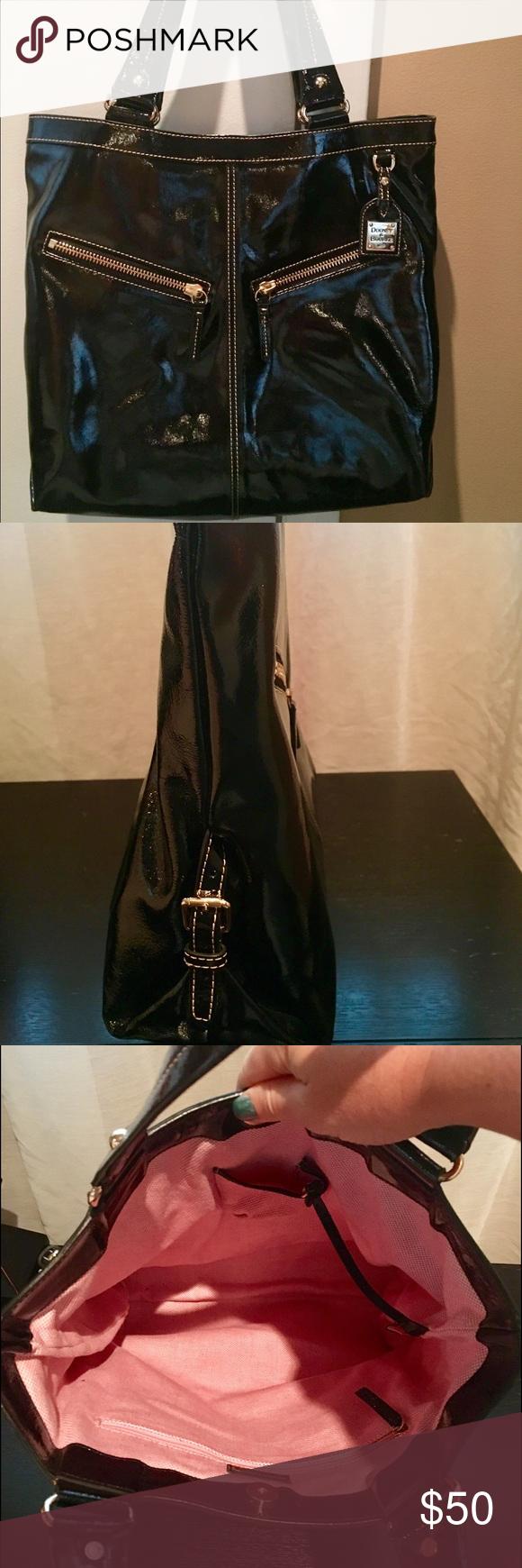 Ladies hand bag Black patent leather handbags. Double shoulder straps. Excellent condition. Dooney & Bourke Bags Shoulder Bags