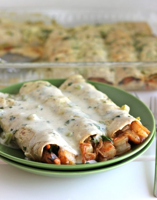 Roasted Shrimp Enchiladas with Jalapeño Cream Sauce