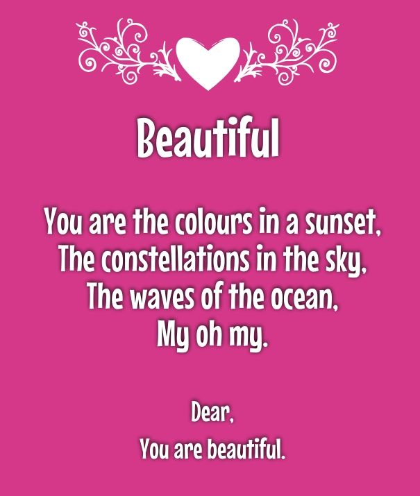 You Re So Beautiful Poems For Her She S Pretty Best Poetry Sweet Quotes Your Beautiful Poems Compliments For Girlfriend