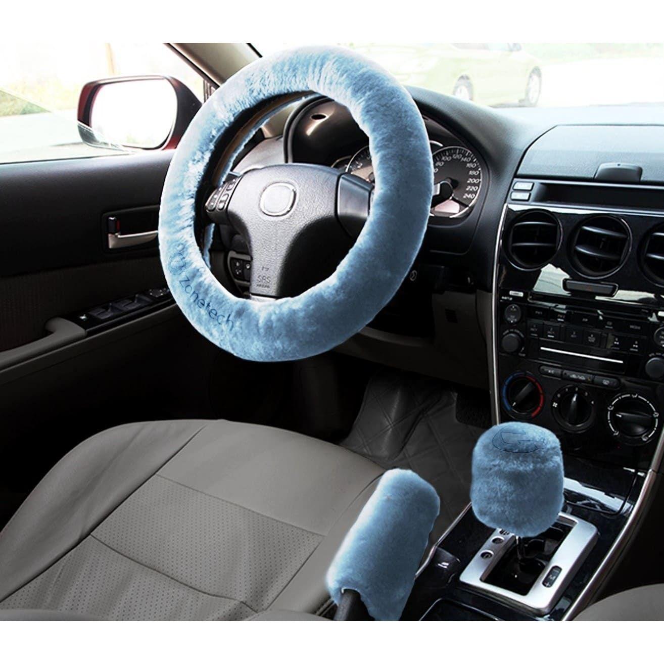 Photo of Zone Tech Non-slip Car Decoration Steering Wheel Handbrake Gear Shift Plush Cover (Blue)