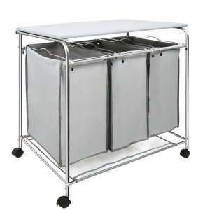 3 Compartment Laundry Cart Basket Trolley With Iron Board 3