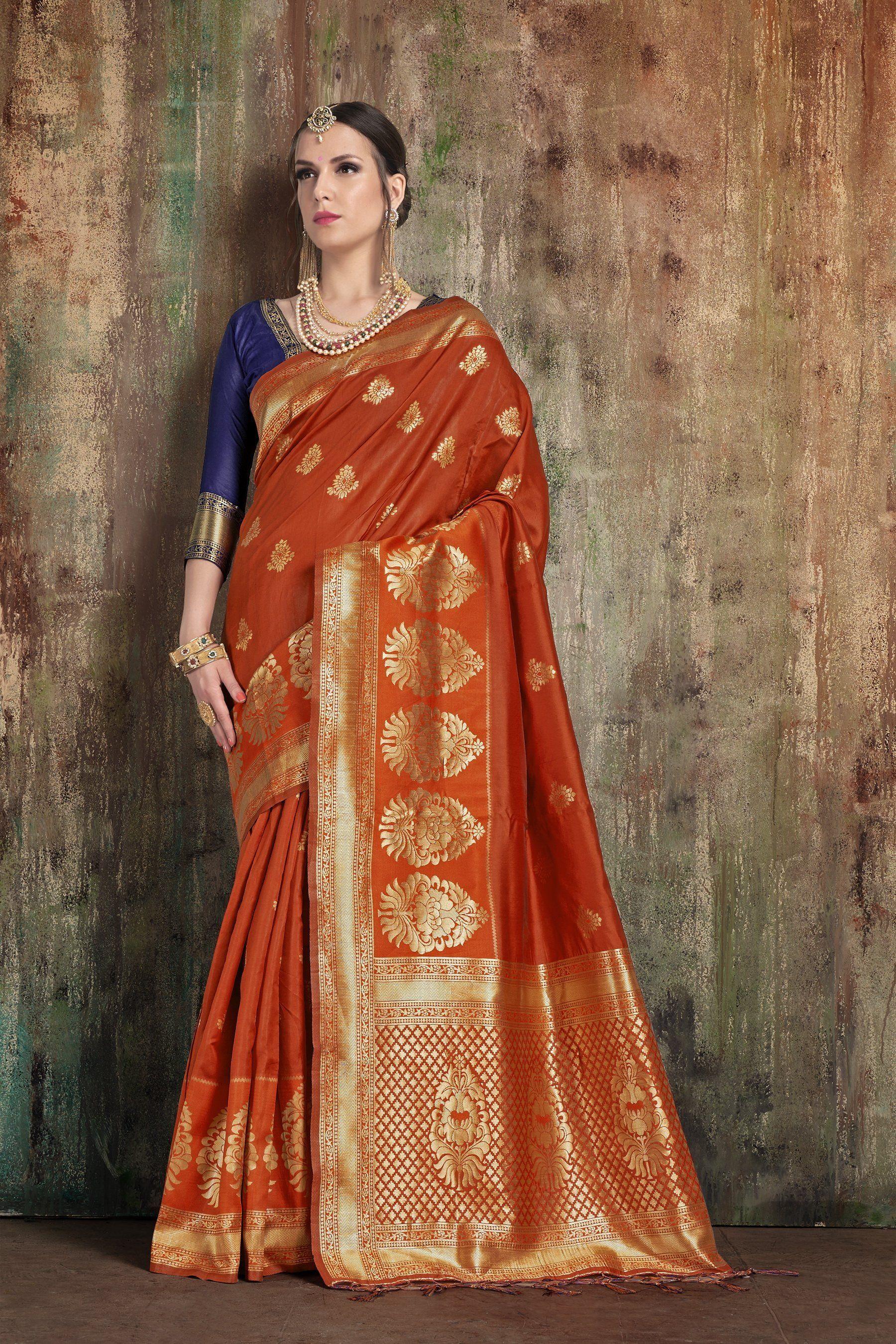 25129fa11f7ee Buy Rust Color Banarasi Art Silk Saree
