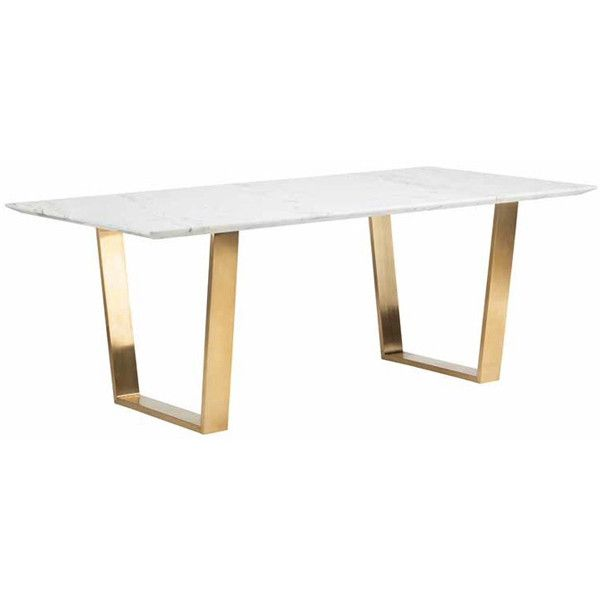Carmelina Dining Table Rose Gold Modern Glass Dining Table