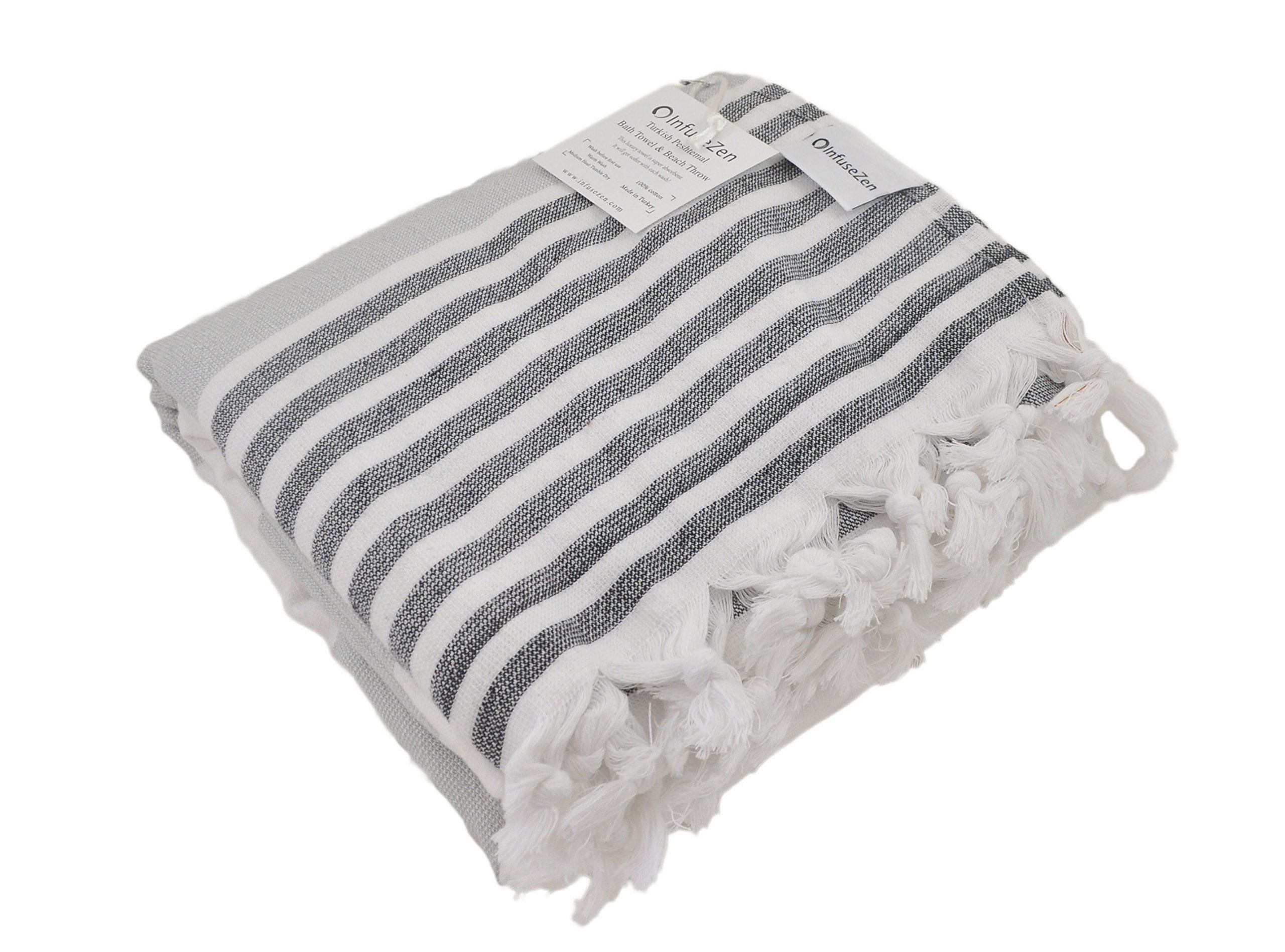 Infusezen Oversized Turkish Towel Soft Terry Cloth Back Turkish