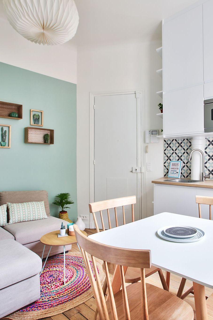 Coin Chambre Dans Petit Salon studio paris 15 : rénovation d'un 20 m2 avec mezzanine