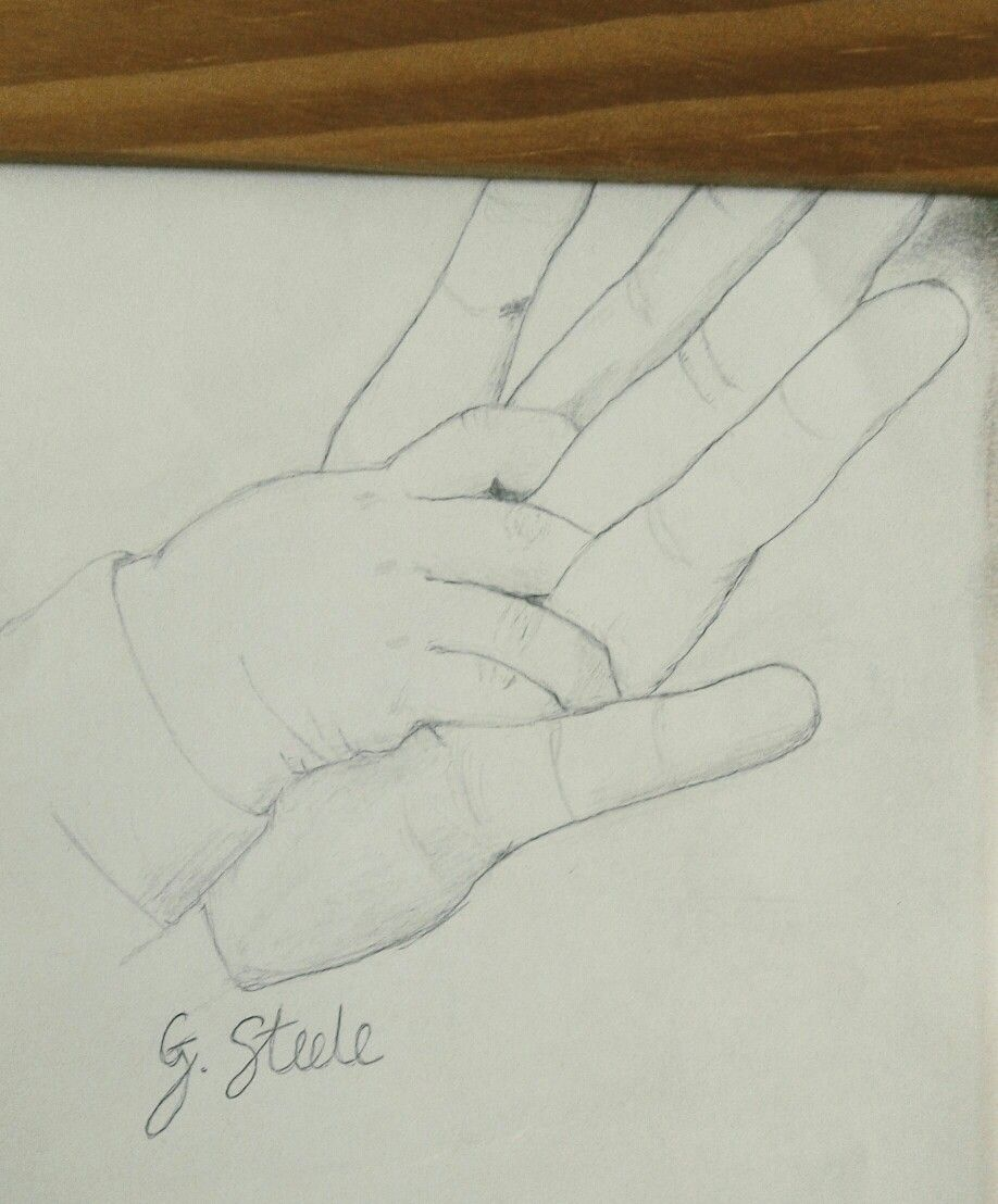Baby s hands entwined pencil sketch