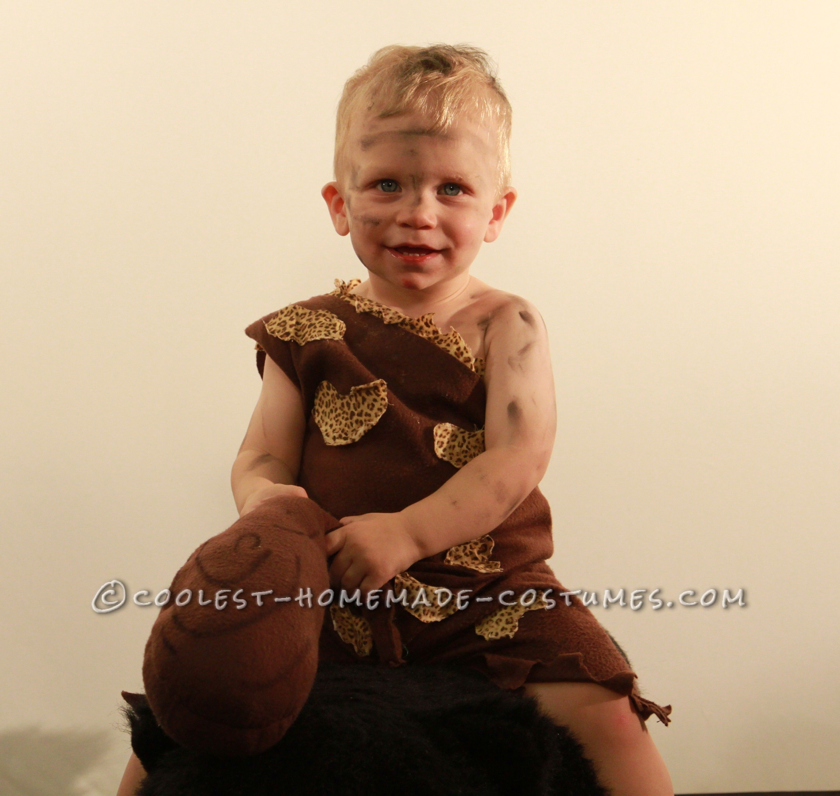 Childs Caveman Costume Kids Boys Prehistoric Fancy Dress Book Week Day Outfit