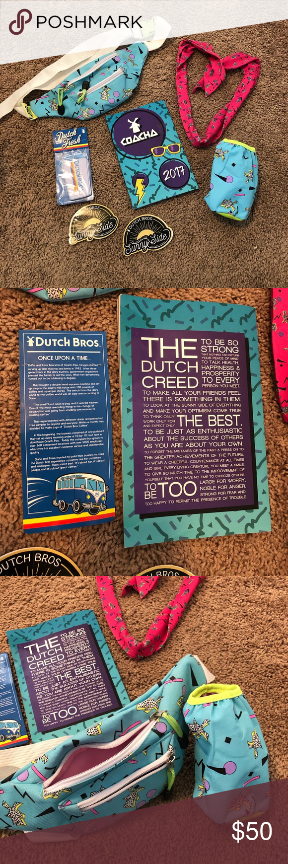 Dutch Bros Coach Merch Dutch Bros 2017 Coach Merch! Super rare and limited edition, you could only get these if you were invited to the 2917 Coacha event. Includes a Dutch Bros fanny pack, water bottle case, notebook, scarf/arm wrap +some extra stickers and an air freshener! The notebook has some notes from when Travis Boersma (one of the brothers who founded Dutch Bros) spoke to us at the event! Dutch Bros Accessories #dutchbros Dutch Bros Coach Merch Dutch Bros 2017 Coach Merch! Super rare and #dutchbros