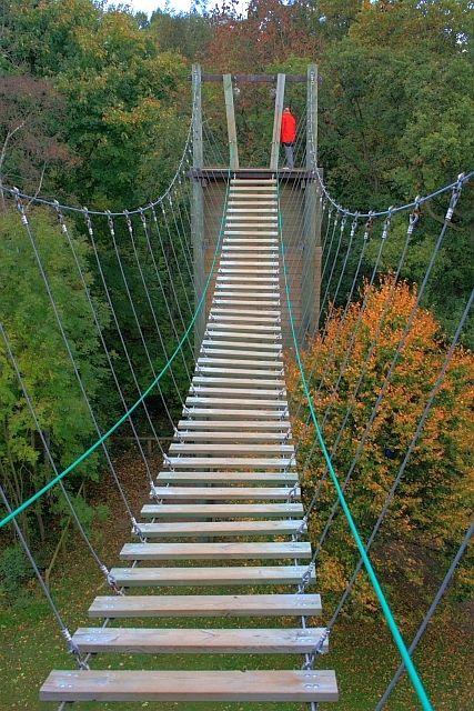 Sneaky Wooded Rope Bridge Rope Bridge Tree House Suspension Bridge