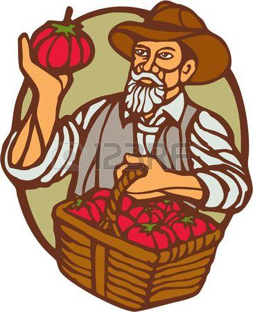 Ilustraci�n de un agricultor org�nico que lleva la cesta de tomates fij� el c�rculo interior hecho en estilo retro grabado en lin�leo grabado en madera. photo
