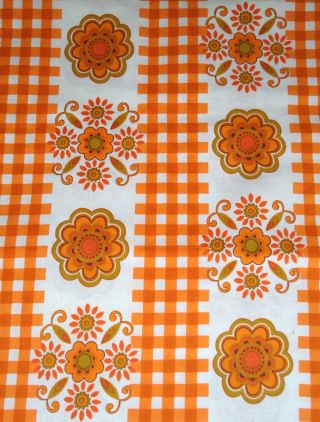 1960s cotton curtain fabric