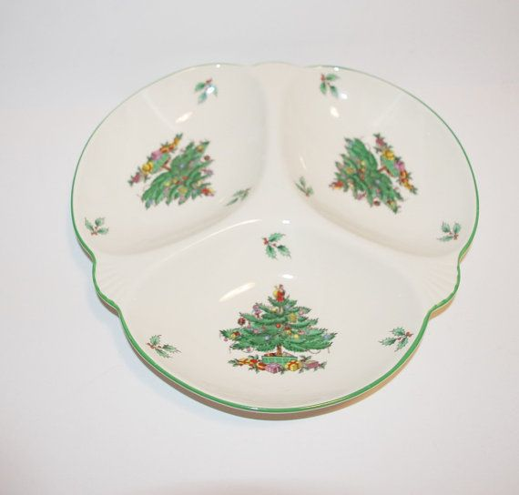 Spode Christmas Tree 3 Section Serving Dish by StetsonCollectibles