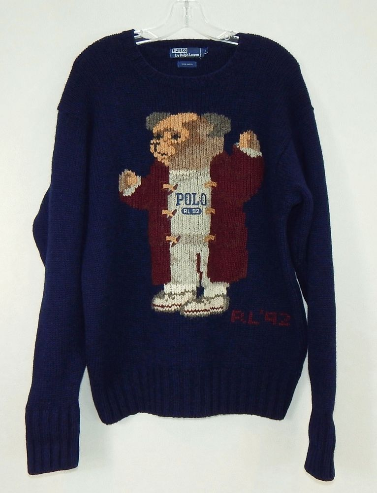 280dac66a POLO RALPH LAUREN VINTAGE Navy Bear Grandpa Grandfather RL92 Sweater Size  Large  PoloRalphLauren  Crewneck