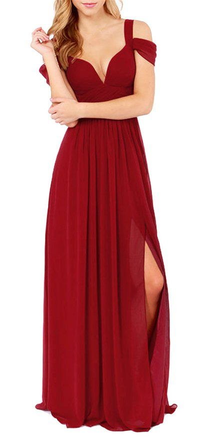 c939fbb29f SheIn Women's Plain Off The Shoulder Maxi Party Evening Dress at Amazon  Women's Clothing store: