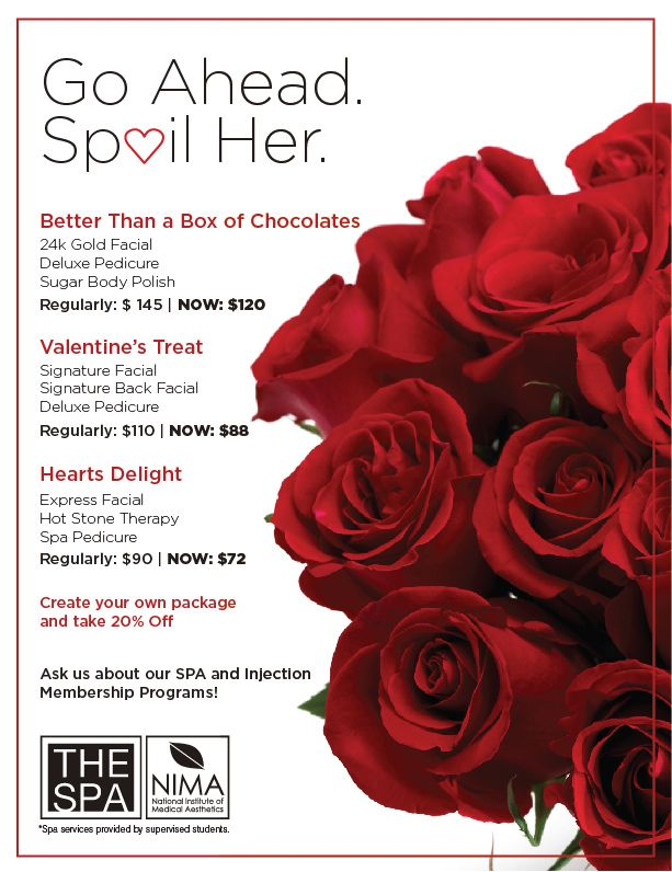 Amazing Valentines Specials Get Spoiled This Year Or Spoil Yourself Spa Specials Valentine Spa Facial Spa