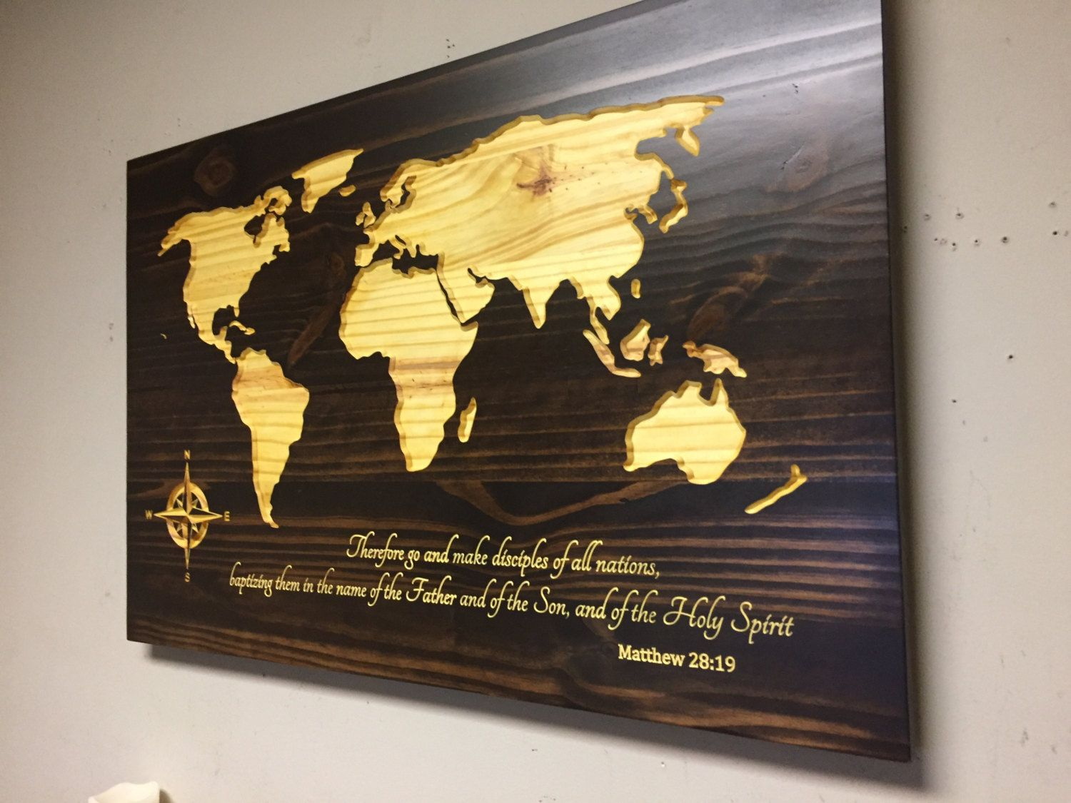 Spiritual art carved world map wall art wooden world map vintage carved world map wall art wooden world map vintage wood map rustic travel decor custom bible verse art matthew 2819 by howdyowl on etsy gumiabroncs Image collections
