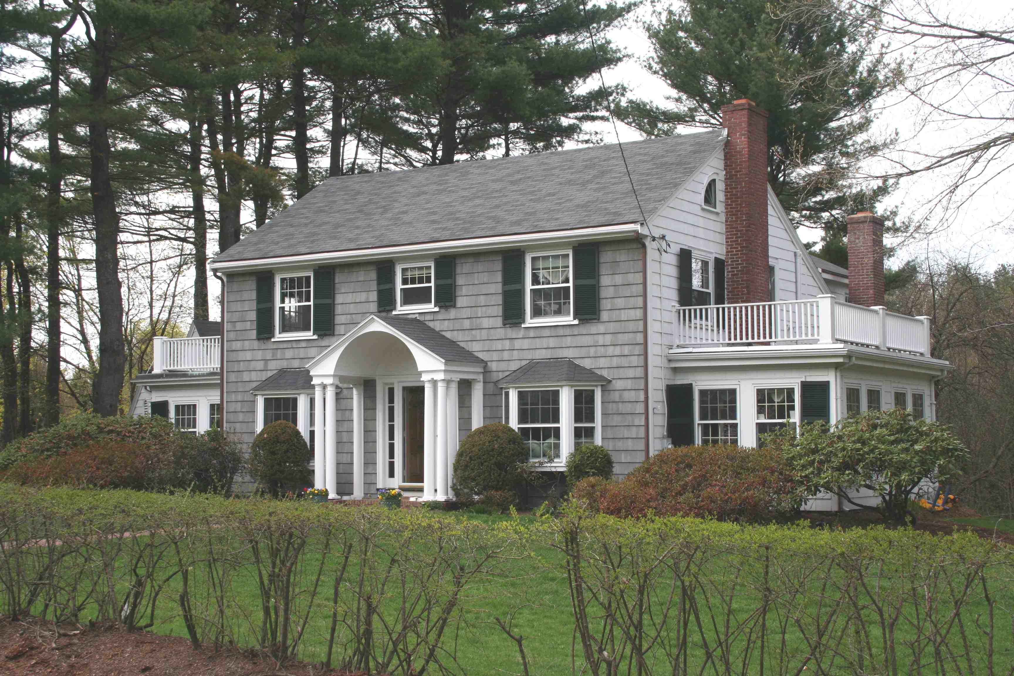 Pinecroft Subdivision Area Weston MA House Pinterest - Colonial portico front entrance