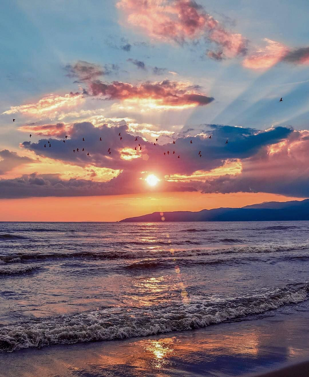 Image May Contain Ocean Sky Cloud Outdoor Water And Nature Sky Aesthetic Sunset Beach Landscape