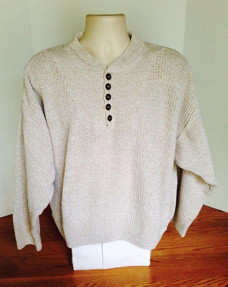Eddie Bauer Mens Ivory Sweater Made In Usa Size Xl Eddiebauer