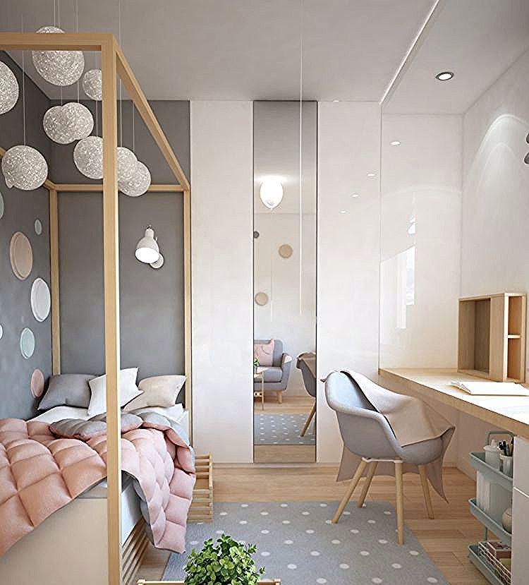 9 Qm Kinderzimmer Grau Rosa Helles Holz Schreibtisch Bett In 2020