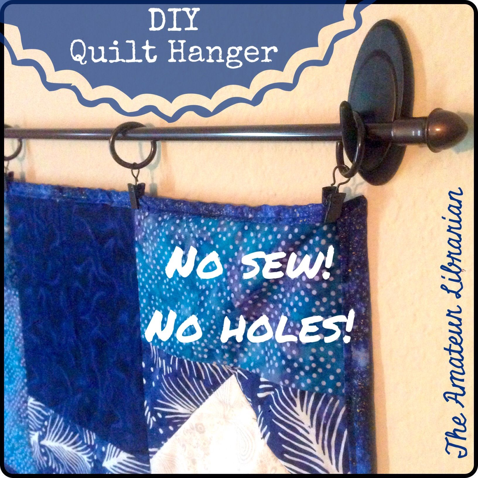 Yep, two steps – no sewing hanging pockets or sleeves to the quilt ... : quilt hangers metal - Adamdwight.com