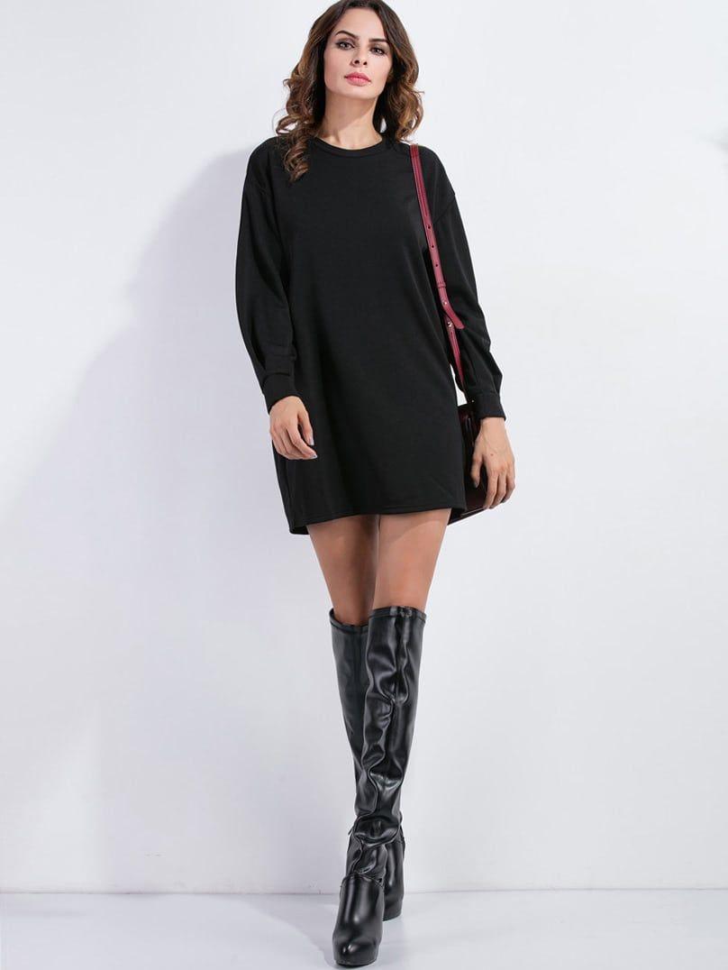 abc3afa3dba Casual and Preppy Sweatshirt Plain Shift Straight Round Neck Long Sleeve  Black Short Length Drop Shoulder Sweatshirt Dress