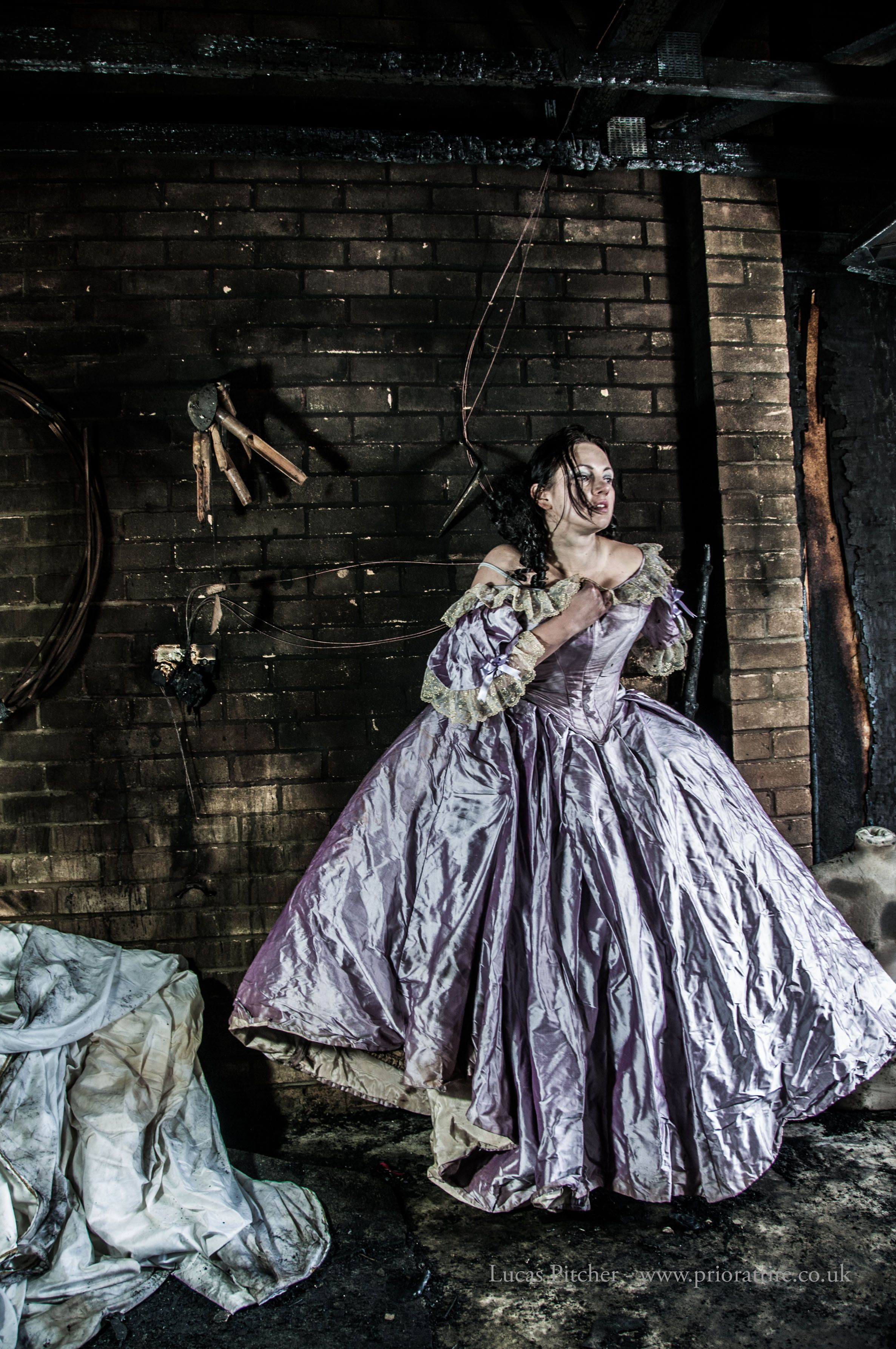Victorian wedding dress damaged in a fire good for Trash