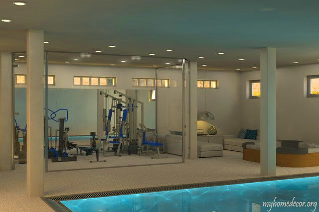 Amazing Home Gym Overlooking Indoor Pool Yes Please Home Gym Design Gym Design Interior Gym Interior
