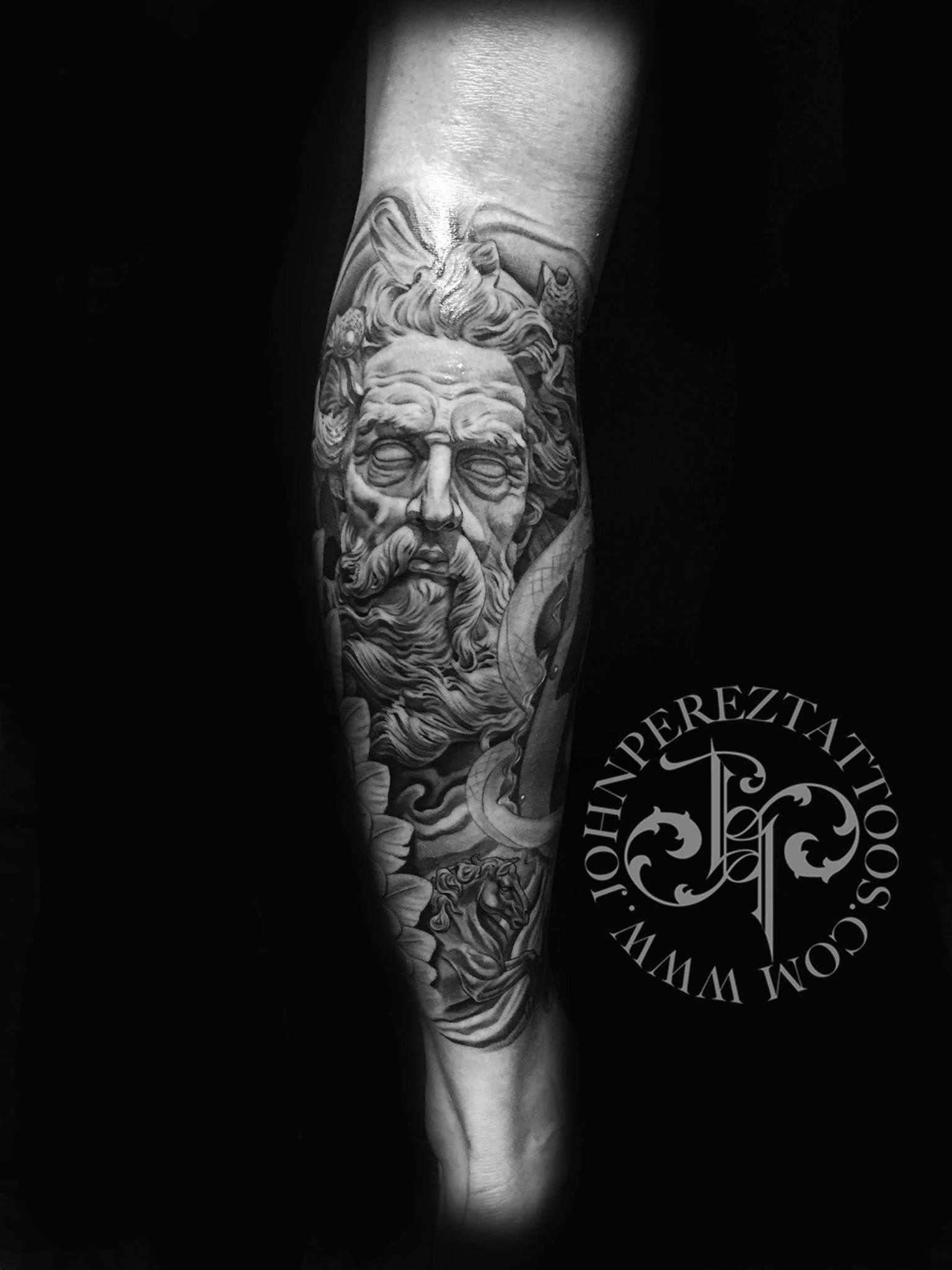 Neptune Tattoo Black And Grey Realism Tattoo Leg Tattoo