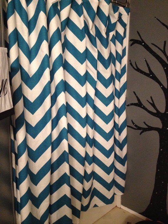 Chevron Shower Curtain Teal Blue Aqua Showe