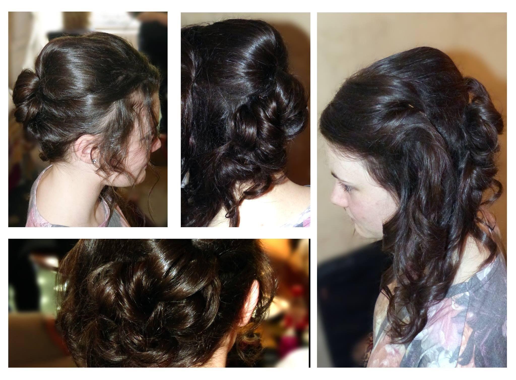 Bridesmaid loose curls pin curls bump
