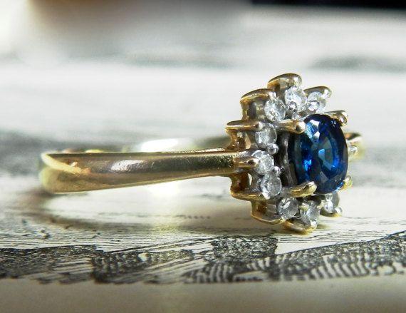 Vintage Blue Sapphire Engagement Ring Sapphire Ring Sapphire Diamond Halo Engagement Ring Genuine Sapphire 14K September Birthday