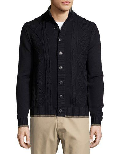 Cable-Knit Stand-Collar Cardigan, Dark Midnight