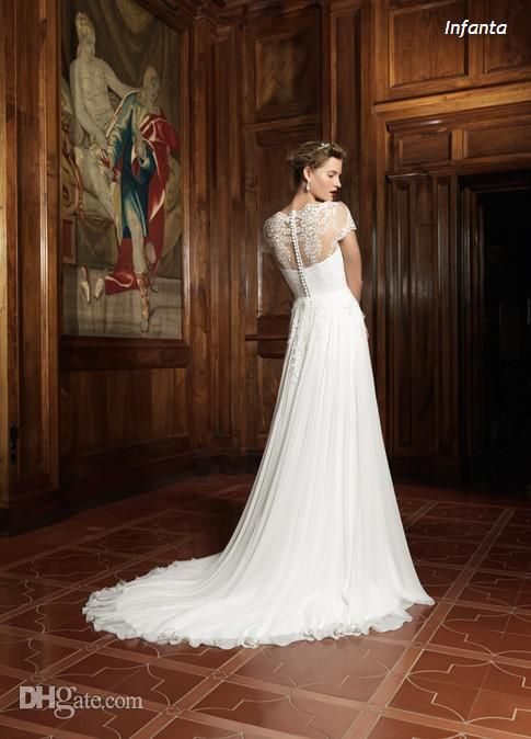 Wholesale Sheath Wedding Dresses - Buy 2014 Sheath Bateau Neck Cap Sleeves Lace Sheer Simple Wedding Dresses Fashion Designer Raimon Bundo Bridal Gown, $155.0 | DHgate