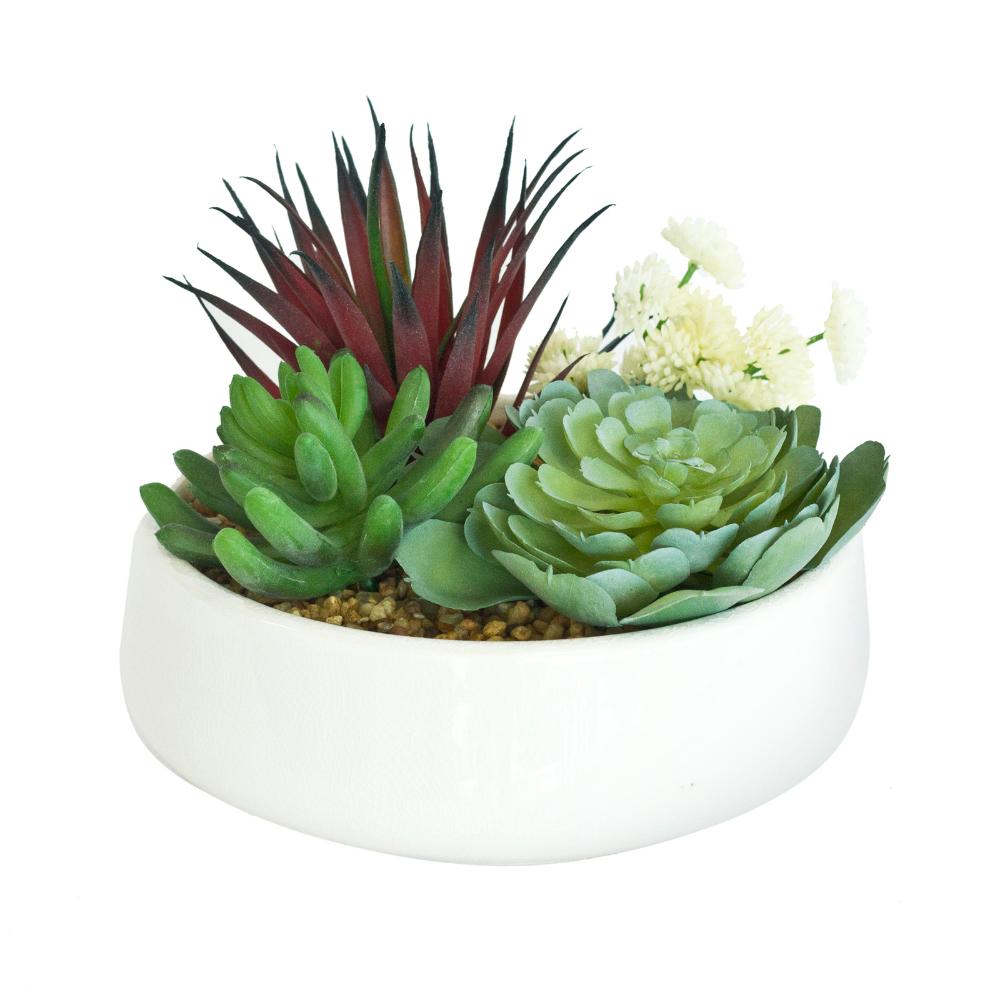 UNREAL 16cm Artificial Succulent Quad In White Pot