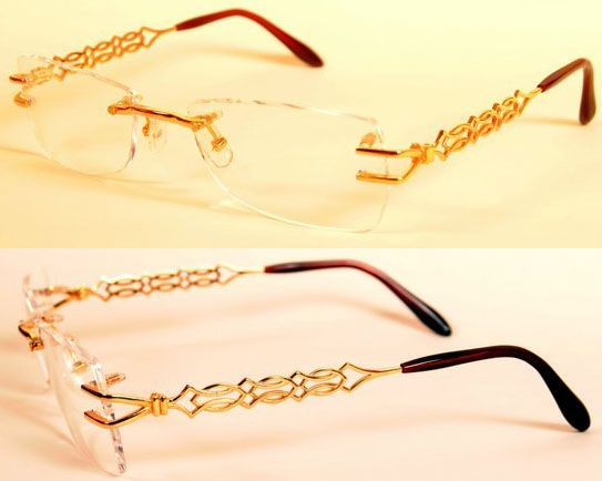 4328b3ec16460 The eye glass frame is made in 18k solid Gold. This hand made rimless frame  is pleasing to the eye.