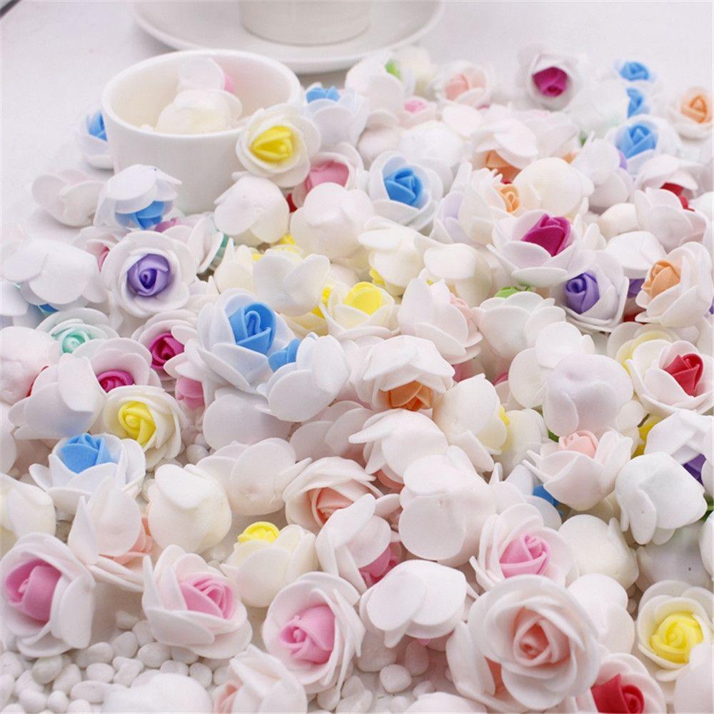 10 pz/lotto mini schiuma pe rosa testa di fiore artificiale della rosa fiori handmade diy a casa decorazione di nozze festosa e rifornimenti party