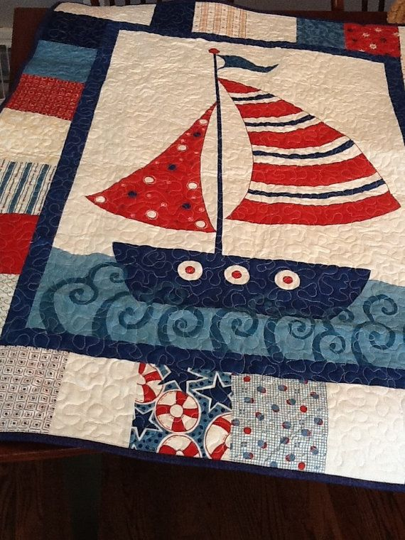 Nautical Boat Quilt Sailing Ship Baby Quilt In Blue And