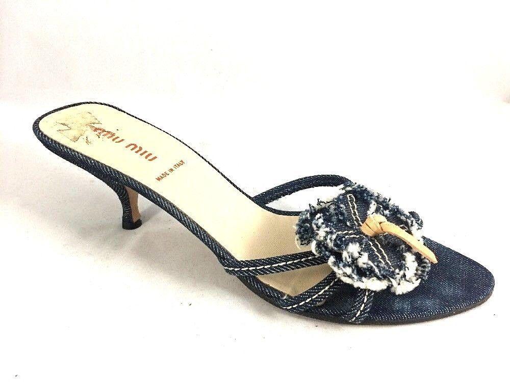 Miu Miu Mule Slide Slip On Heel Denim Jean Flower Strappy Open Toe