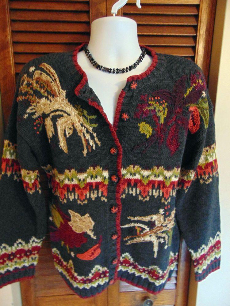 Knitted Crochet Cardigan Button Sweater Women's TIARA Egyptian Ramie/Cotton Sz M