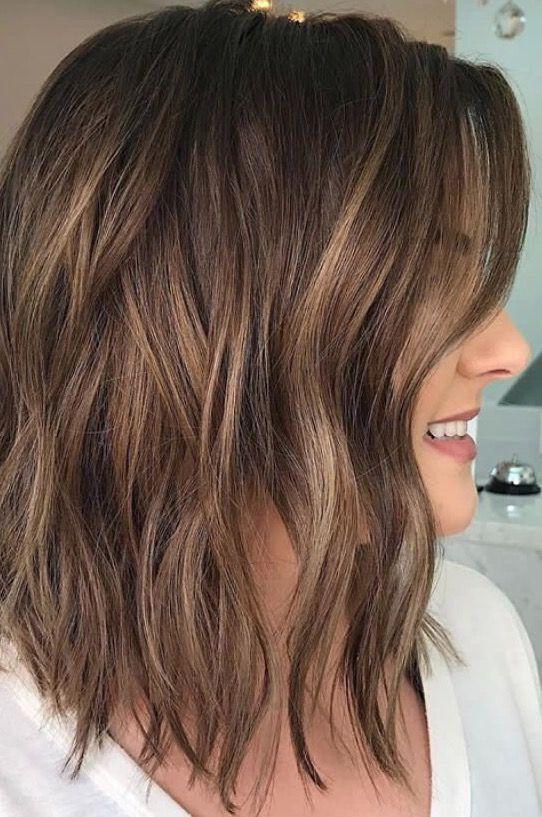 Brunette Balayage Wavy Hair Brown Highlights Long Bob Styles