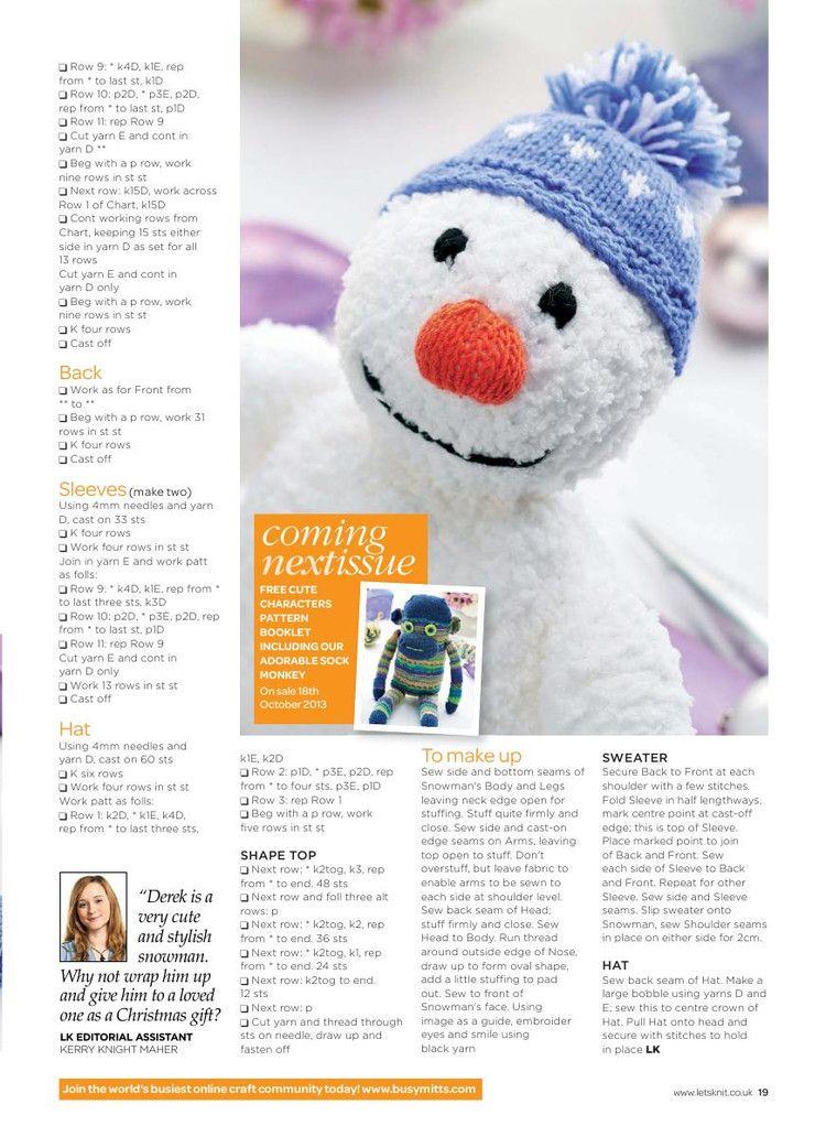 Lets Knit Issue 72 2013 - 轻描淡写 - 轻描淡写   Muñecos de punto ...