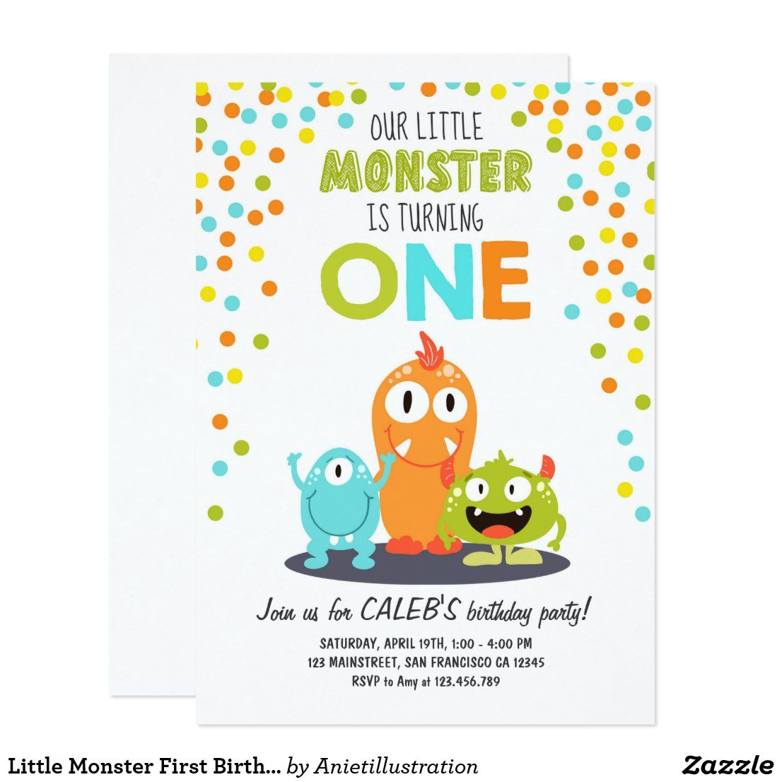 Fiestas De Halloween En San Francisco California 2020 Little Monster First Birthday Party Invitation Boy | Zazzle.en