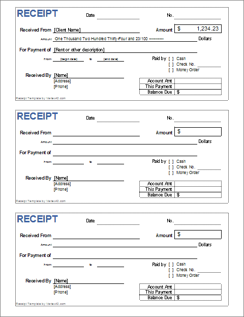 Editable Printable Receipt Template