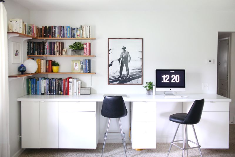 Make A Long Built In Style Desk By Hanging Cabinets And Creating Your Own Custom Countertop Click Through For Pictures Instruc Built In Desk Long Desk Home